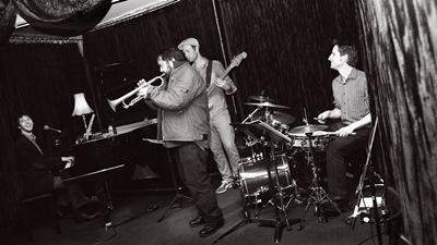 James, Nick Wilkins on trumpet, Wes Hunter on drums, Josh Bridges on bass